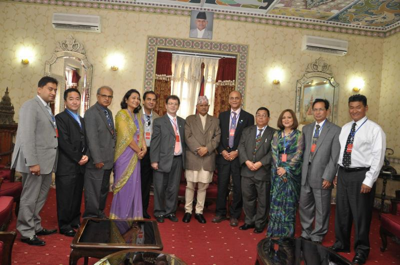 Non-Resident Nepalese Association of America members with Nepal's President Dr. Ram Baran Yadav